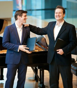 Christopher Enns (left) with baritone Russell Braun in a February 2012 concert (Photo: Karen Reeves)