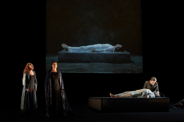 Daveda Karanas as Brangäne, Melanie Diener as Isolde, Ben Heppner as Tristan and Franz-Josef Selig as King Marke in the Canadian Opera Company's production of Tristan und Isolde, 2013. director Peter Sellars, visual artist Bill Viola, (Photo: Michael Cooper)