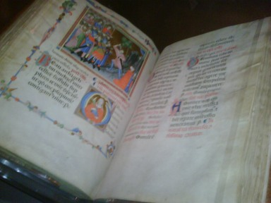 Here's what an illuminated book can look like. This is from the AGO show of early Renaissance art that just opened.  (photo: Leslie Barcza)