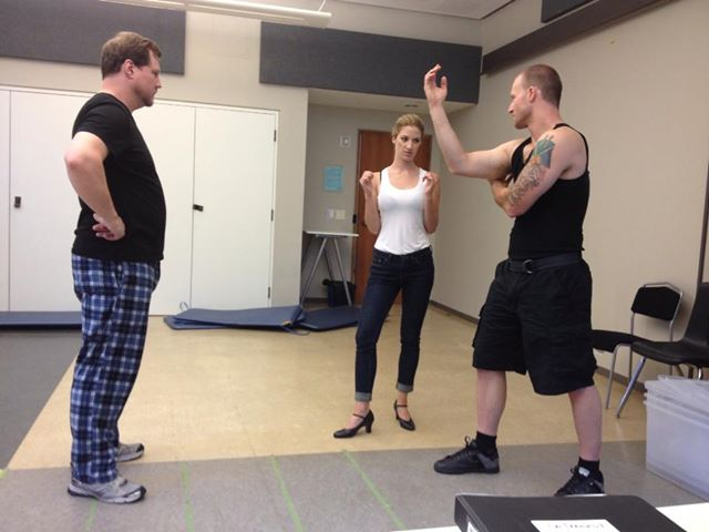 Fight Director and PTSD consultant, Sean Brown, working with Ryan Harper (left) and Cassandra Warner