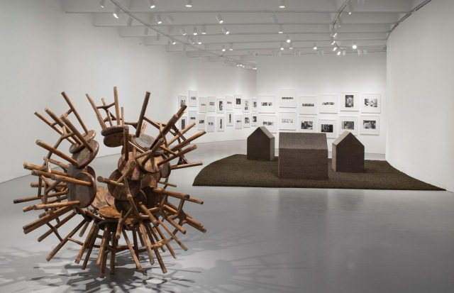 Ai Weiwei: According to What? From left to right: Grapes, 2010; New York Photographs, 1983-1993; Tea House, 2009. Installation view of Ai Weiwei: According to What? at the Hirshhorn Museum and Sculpture Garden, Washington D.C., 2012. Photo: Cathy Carver.
