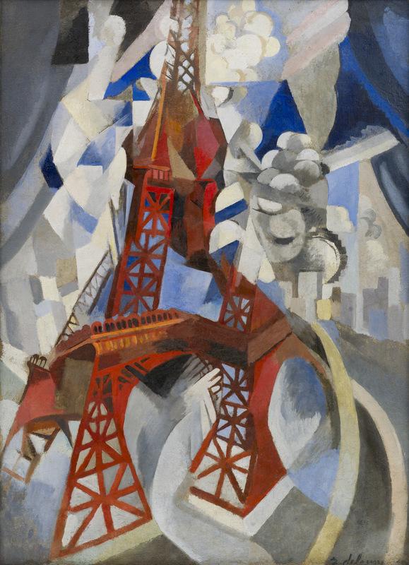 Robert Delauney, Red Eiffel Tower (La  tour rouge), 1911–12.  Oil on canvas, 49 1/4 x 35 3/8 inches (125  x 90.3 cm).  Solomon R. Guggenheim Museum, New  York, Solomon R. Guggenheim Founding  Collection