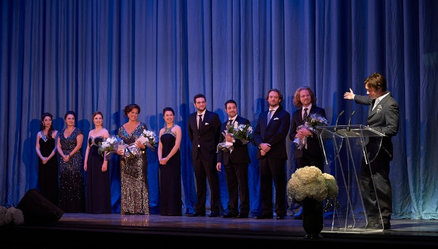 Ensemble Studio Competition finalists and winners with Centre Stage host Rufus Wainwright (photo by Michael Cooper)