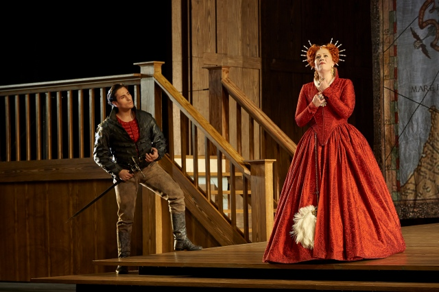 Leonardo Capalbo as Roberto Devereux and Sondra Radvanovsky as Elisabetta in the Canadian Opera Company production of Roberto Devereux, 2014. Conductor Corrado Rovaris, director Stephen Lawless, set designer Benoît Dugardyn, costume designer Ingeborg Bernerth and lighting designer Mark McCullough. Photo: Michael Cooper