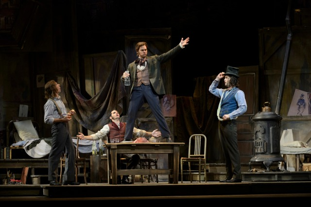 (l-r) Phillip Addis as Marcello, Eric Margiore as Rodolfo, Cameron McPhail as Schaunard and Tom Corbeil as Colline in the Canadian Opera Company production of La Bohème, 2013. Photo: Chris Hutcheson