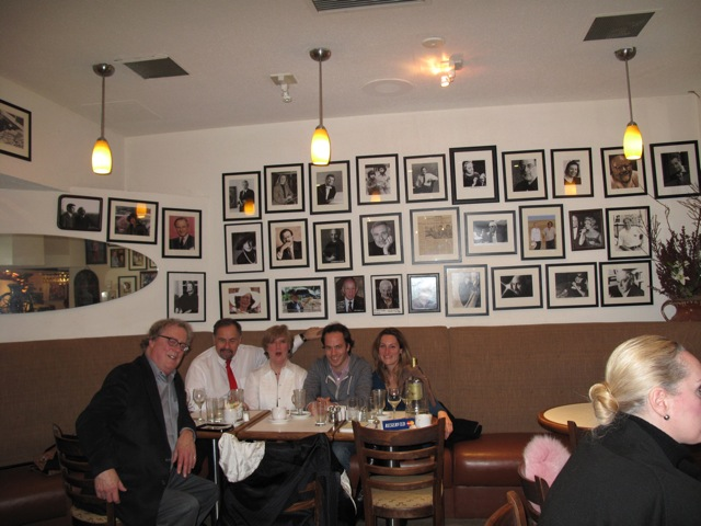"Ann's caption:  ""Our favourite cafe in Yorkville --  Coffee Mill, where I can practise my three sentences in Hungarian!!! Errol, Michael, myself, Johannes, Erin -- just having lunch together."""