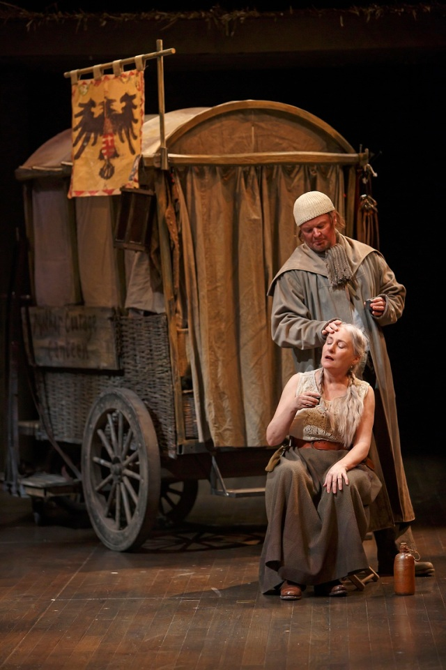 Seana McKenna as Mother Courage and Geraint Wyn Davies as Cook in Mother Courage and Her Children. Photo by David Hou.
