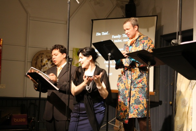 "Left to right, Fabian Arciniegas, Erin Bardua, James Levesque in Essential Opera's 2013 program ""Two Weddings and a Funeral"""