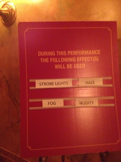 A cautionary sign in the lobby of the Elgin Theatre