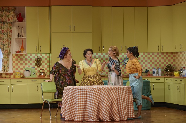 (l-r) Marie-Nicole Lemieux as Mistress Quickly, Lyne Fortin as Alice Ford, Lauren Segal as Meg Page and Simone Osborne as Nannetta in the Canadian Opera Company production of Falstaff, 2014. Photo: Michael Cooper