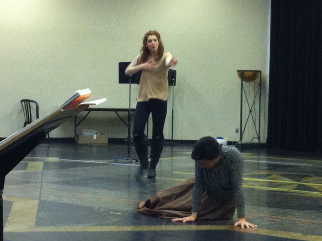 Mireille Lebel(standing) and Peggy Kriha Dye in a rehearsal photo
