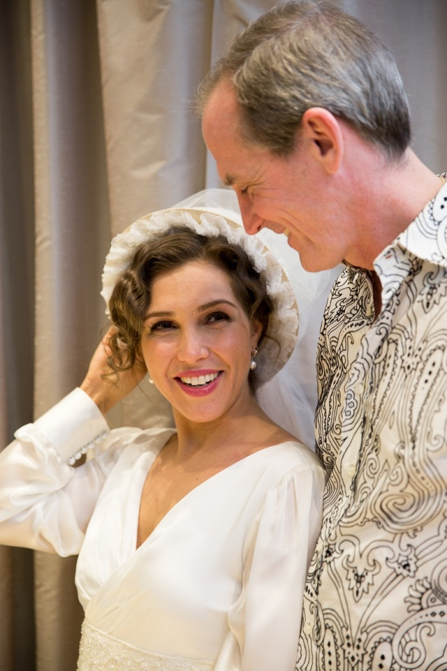 Bride-to-be Susanna (Sasha Djihanian) with designer David McCaffrey