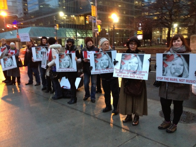 Demonstrators outside Roy Thomson Hall before the concert tonight