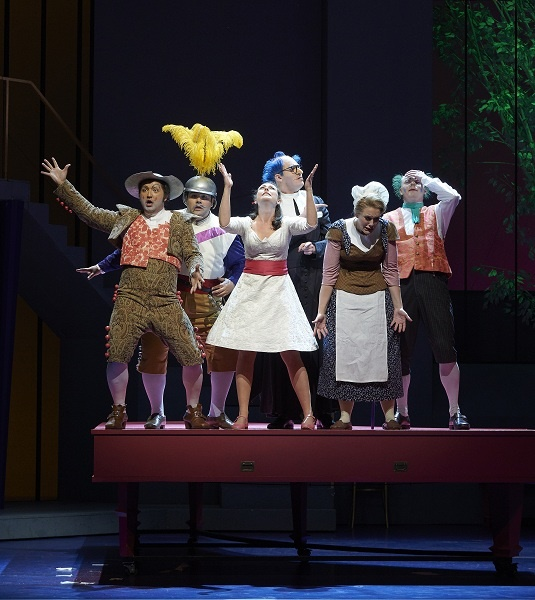 (l-r) Clarence Frazer as Figaro, Andrew Haji as Count Almaviva, Charlotte Burrage as Rosina, Gordon Bintner as Don Basilio, Karine Boucher as Berta and Iain MacNeil as Doctor Bartolo in the Ensemble Studio performance of the Canadian Opera Company's production of The Barber of Seville, 2015. director Joan Font, set and costume designer Joan Guillén ( Photo: Michael Cooper)