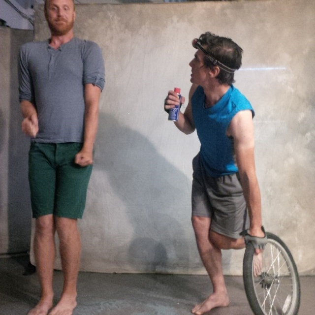Geoffrey Sirett (L) and Christopher Enns in Bianchi, a Bicycle Opera Project specialty