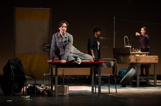 Left to right Lucia Cervoni (Julie), Clarence Frazer (Jean) and Sharleen Joynt (Christine), Photo by Cylla von Tiedemann