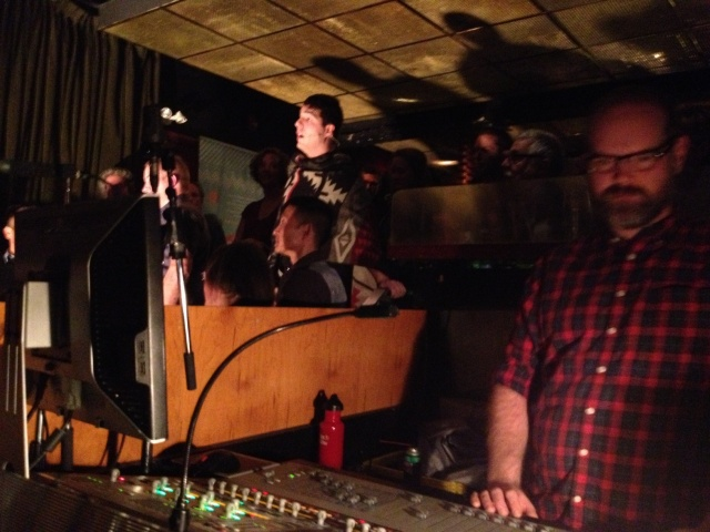 "Jeremy Dutcher sings ""Ev'ry Valley"" under the watchful eye of Kyle Brenders at the controls."