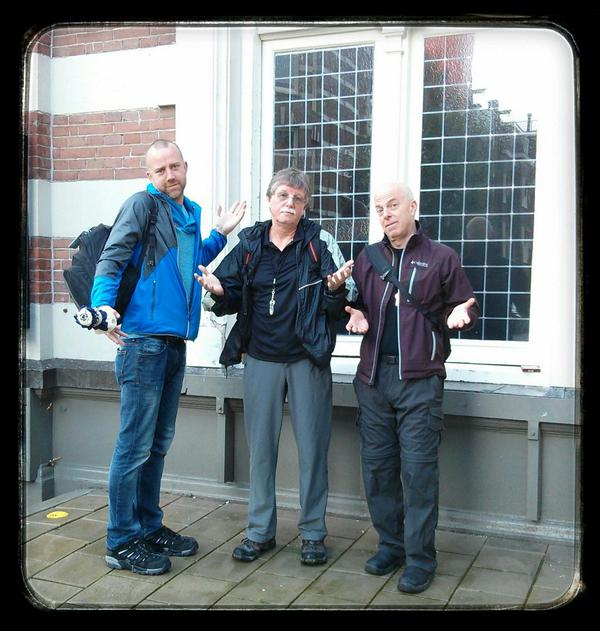 Jon Welmers, Fred Bunting, Chris Walroth. The window behind us is the loading door for Concertgebouw