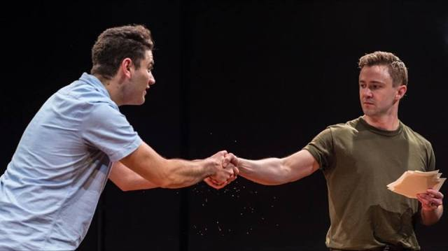 Danny Ghantous (left) and Morgan David in Factory Theatre's recent A Line in the Sand (photo: Dahlia Katz)